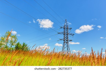 High voltage line beneath the blue sky