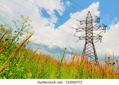 High voltage line beneath the cloudy sky