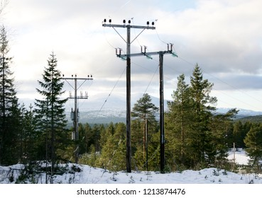High voltage masts in a Winter landscape