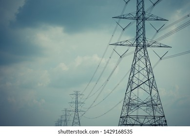 High voltage pole cable wire and Blue sky with cloud background