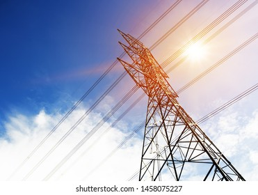High voltage pole with flare beautiful on sky blue.