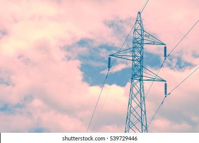 high voltage pole. Retro vintage filter effect.