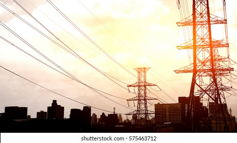 high voltage pole and sunset   background