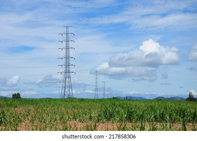 High voltage poles in clear sky.