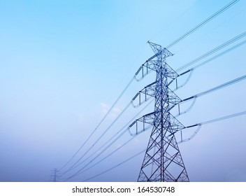 High voltage post against clear blue sky