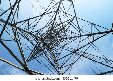 High voltage post in blue sky.