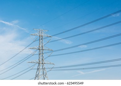 High voltage post in countryside of Thailand