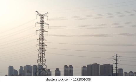 high voltage post. High-voltage tower sky background. Electricity is the major energy of the world.
