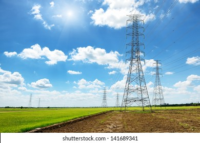 High voltage post or High voltage tower in green field
