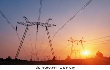 high voltage post, High voltage tower sky sunset background