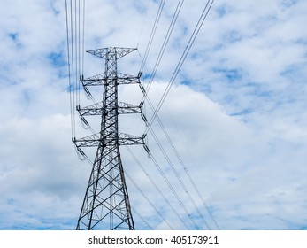 high voltage post,electric pole,Power poles,High voltage power pole with wires tangle.