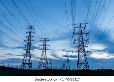 High voltage post,High voltage tower sky background