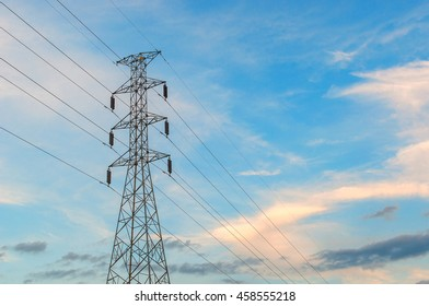 High Voltage post.High-voltage tower at sky background. copy space