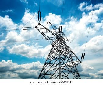 high voltage post.High-voltage tower sky background.