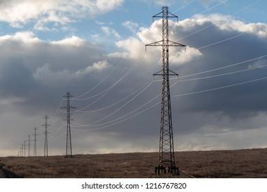 High voltage posts and clouds. Norilsk. September 30, 2018