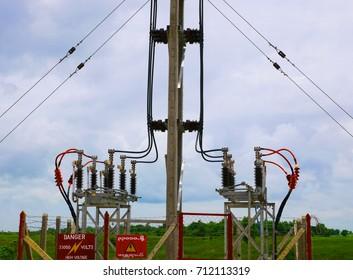 High voltage power electric line and transmission tower in Special Economic Zone in Myanmar