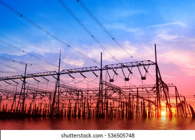High voltage power grid, in the sunset