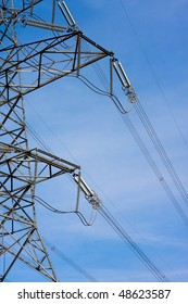 High voltage power line at dusk