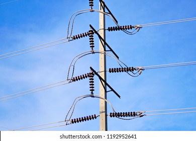 high voltage power line on pole against the blue sky