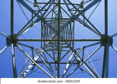 High voltage power line pylon view from within
