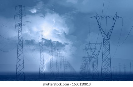 High voltage power lines with aamazing lightning