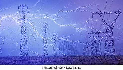 High voltage power lines and lightning