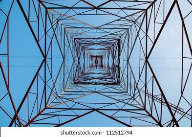 High Voltage Power Pole Texture Background.