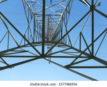 high voltage power station under sky