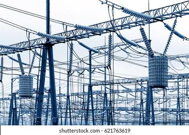 High voltage power substation, modern power facility.