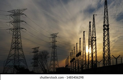 High voltage power tower / The Transmission Line and Tower Electricity Transmission