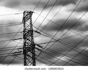 high voltage power traction sky background