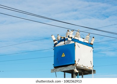 High voltage power transformer substation up on the column