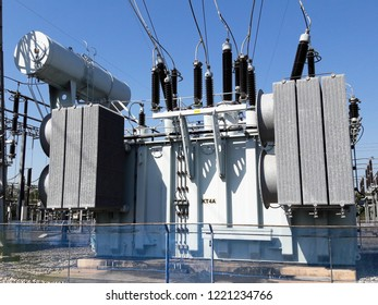 High voltage power transformer substation. The equipment used to raise or lower voltage, high voltage power station.