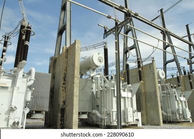 High voltage power transformer in substation