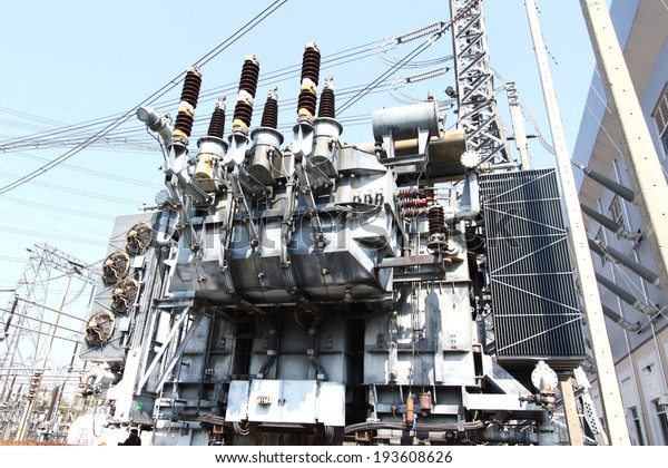 High Voltage Power Transformer Substation Stock Photo (Edit