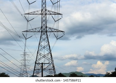 high voltage pylon cross the country side