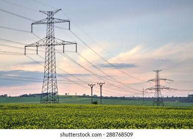 High voltage pylons, Power lines