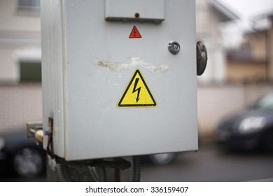 High voltage sign close up on a box