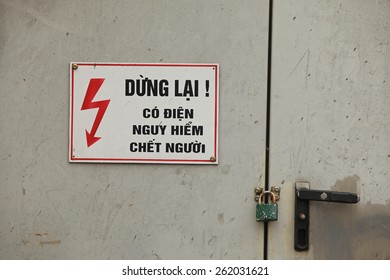 High voltage sign, danger warning in Vietnamese