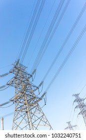 High voltage telegraph pole with blue sky