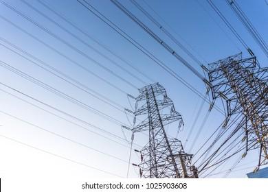 High voltage telegraph poles.