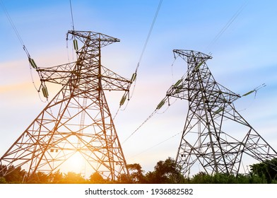 High voltage tower at dusk