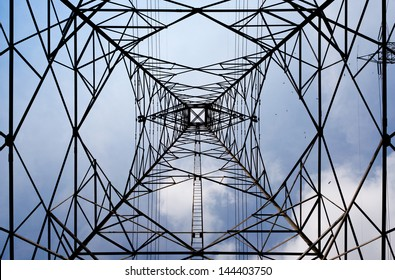 High Voltage Tower from inside below to the top
