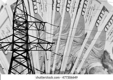 High voltage tower lines and american dollars background
