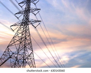 High voltage towers with evening sky