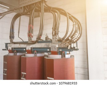 High Voltage Transformer 22KV. metal is Superconductors for High Voltage Transformer.High voltage substation in the plant industry.