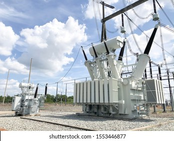 High voltage transformer in electrical substation