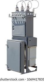 high voltage transformer on white background