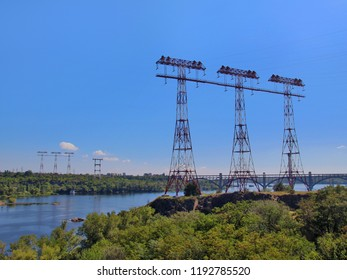 High voltage transmission lines across river Dnieper in Zaporozhye city, Ukraine.