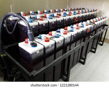 High Voltage Volt Battery room, Room used to backup or uninterruptible power electricity and energy storage, Power Plant, Substation,